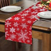 Vsadey Christmas Decorative Table Runner 13 x 72 Inch, Xmas Snowflake Non-Slip Polyester Table Linens for Christmas Decorations