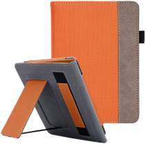 WALNEW Stand Case Fits Kindle Paperwhite 10th Generation 2018 PU Leather Case Smart Protective Cover with Hand Strap (Orange)