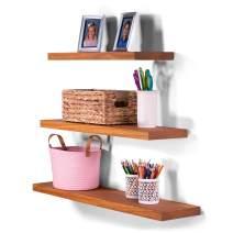 "DAKODA LOVE Clean Edge Floating Shelves   USA Handmade   Wall Mounted Hidden Single Bar Floating Shelf Bracket   Modern Rustic Pine Wood   Set of 3 (Autumn, 36"", 30"", 24"" L x 8""D)"