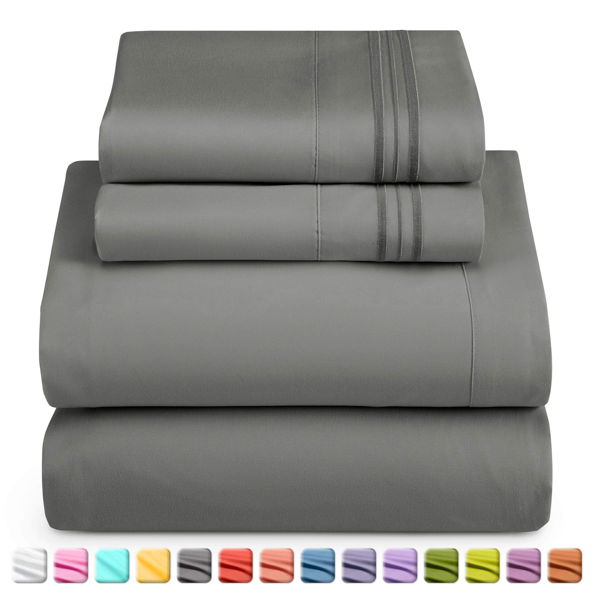 Nestl Luxury Queen Sheet Set - 4 Piece Extra Soft 1800 Microfiber-Deep Pocket Bed Sheets with Fitted Sheet, Flat Sheet, 2 Pillow Cases-Breathable Hotel Grade Comfort and Softness - Charcoal Stone Gray