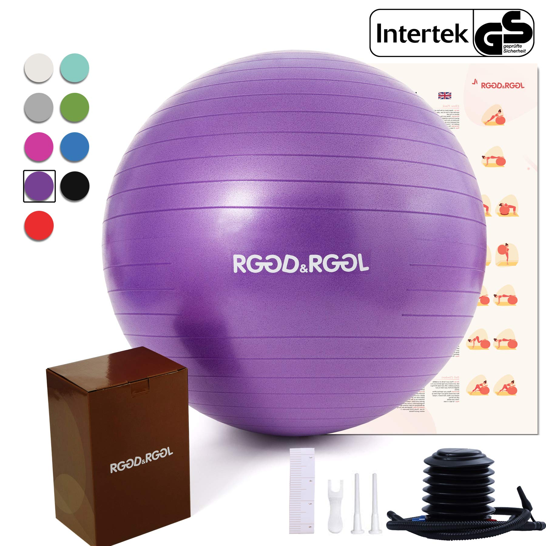 RGGD&RGGL Exercise Ball (18-34in),Professional Yoga Stability Ball Chair Extra Thick Anti-Burst Support 2200 lbs,with Quick Pump &Workout Guide for Home&Gym&Office