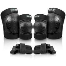 G4Free Adults Kids Bike Knee Pads Elbow Pads Wrist Guards 3 in 1 Protective Gear Sets for Skateboarding, Roller Skating Cycling Scooter