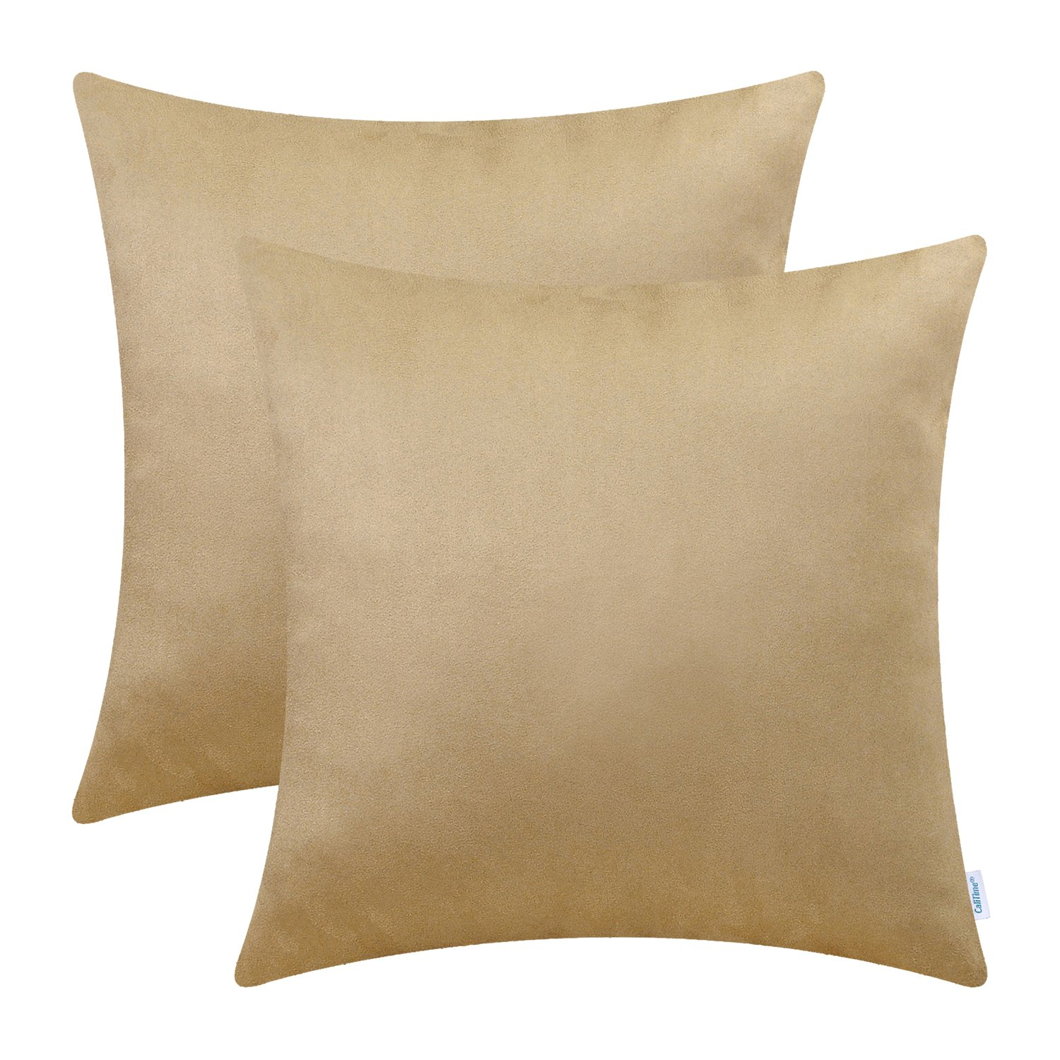 CaliTime Pack of 2 Cozy Throw Pillow Covers Cases for Couch Bed Sofa Super Soft Faux Suede Solid Color Both Sides 18 X 18 Inches Tan