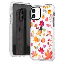 iPhone 11 Clear Case,Girls Women Yellow Orange Fall Maple Leaves Flowers Floral Daisy Cute Funny Autumn Pine Nuts Trendy Chic Hipster Soft Protective Clear Case with Design Compatible for iPhone 11