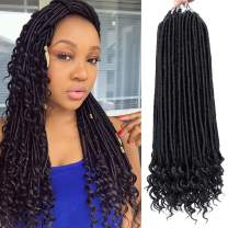 6 Packs 18 Inch Faux Locs Crochet Hair Straight Goddess Locs Crochet Hair with Curly Ends Soft Ombre Crochet Braiding Hair (18 Inch, 1B)