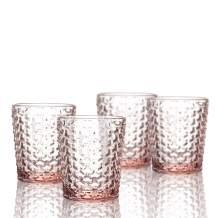 Elle Collection Bistro Weave 4 Pc Set Old Fashion, Pink-Glass Elegant Barware and Drinkware, Dishwasher Safe, 10.8 Oz