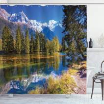 """Ambesonne Mountain Shower Curtain, Snow Covered Alps Peaks Covered with Fir Trees in Lake Natural Paradise, Cloth Fabric Bathroom Decor Set with Hooks, 70"""" Long, Blue Green"""