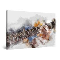 "Startonight Canvas Wall Art Abstract - Grunge Guitar Man Playing Watercolor - Large Framed 32"" x 48"""