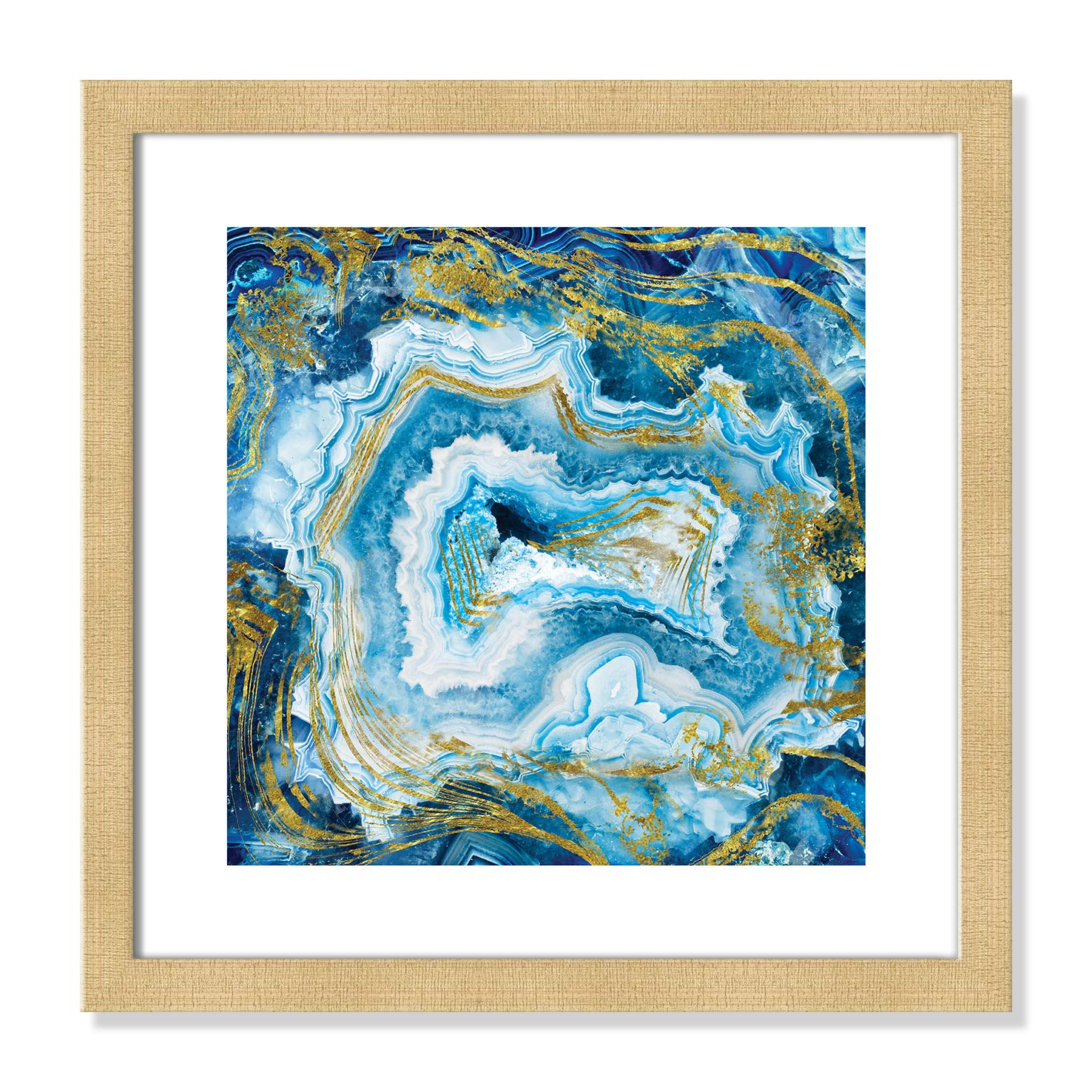 """Casa Fine Arts Touch Agate II Blue and Gold Colorful Geode Wall Art Archival Print, 16"""" x 16"""", Champagne Frame"""