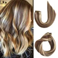 613 Blonde Clip in Human Hair Extensions Real Remy Hair Extensions Clip on for Black Women Ombre Balayage Chestnut Brown with Bleach Blonde Highlights Double Weft Full Head 120g 7pcs 17 Clips 14 Inch