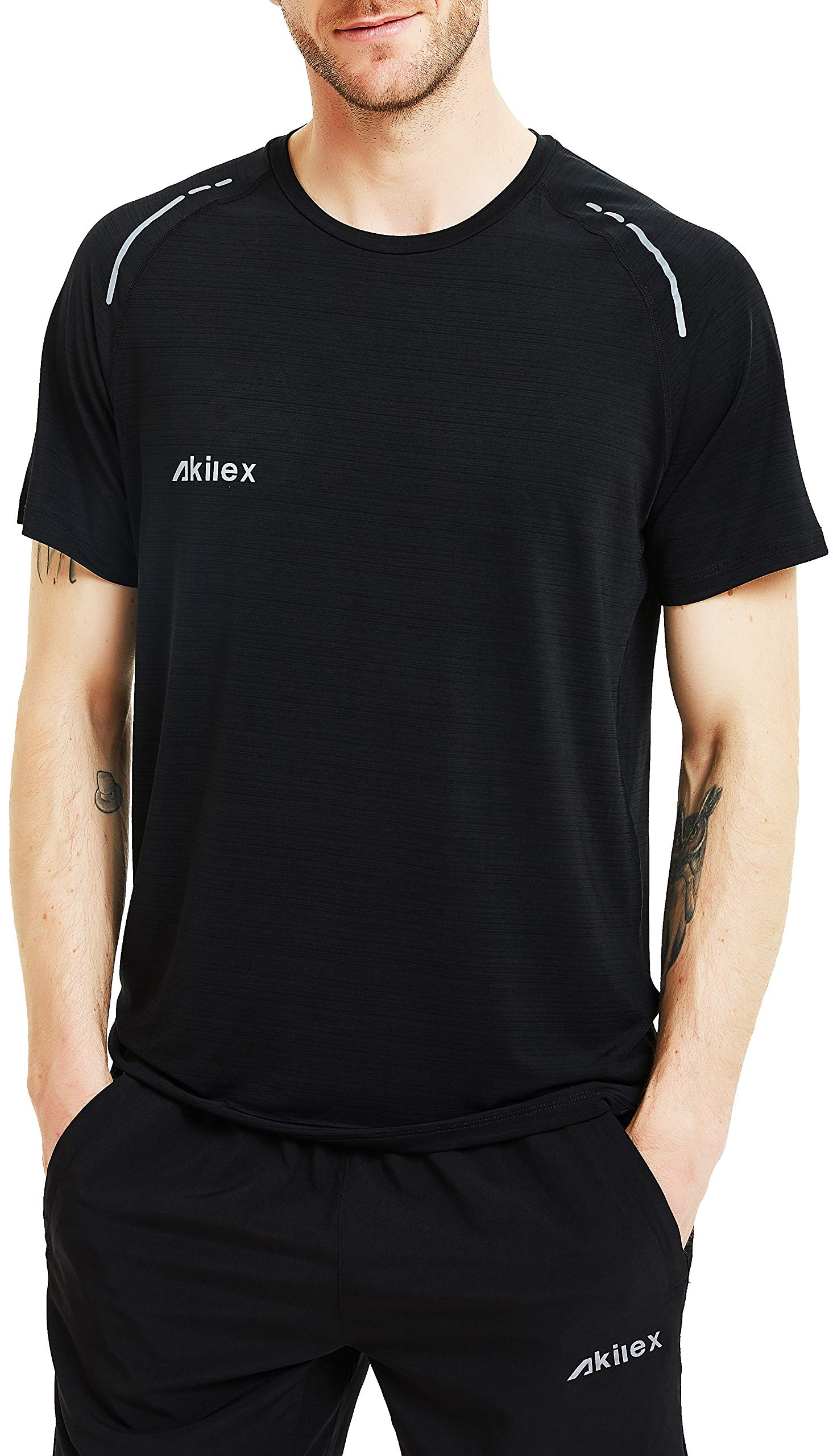 Akilex Mens Running Dry Fit T-Shirt Athletic Outdoor Short Sleeve Comfortable Sports Top