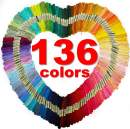 Premium Rainbow Embroidery Floss Thread: 136 Skeins Pack, 6 Strand 8.75 Yard, Multi-Color with Numbers  Cross Stitch Kit, Friendship Bracelet String, Needle Work Yarn, DIY Craft Art, Tassel Decoration