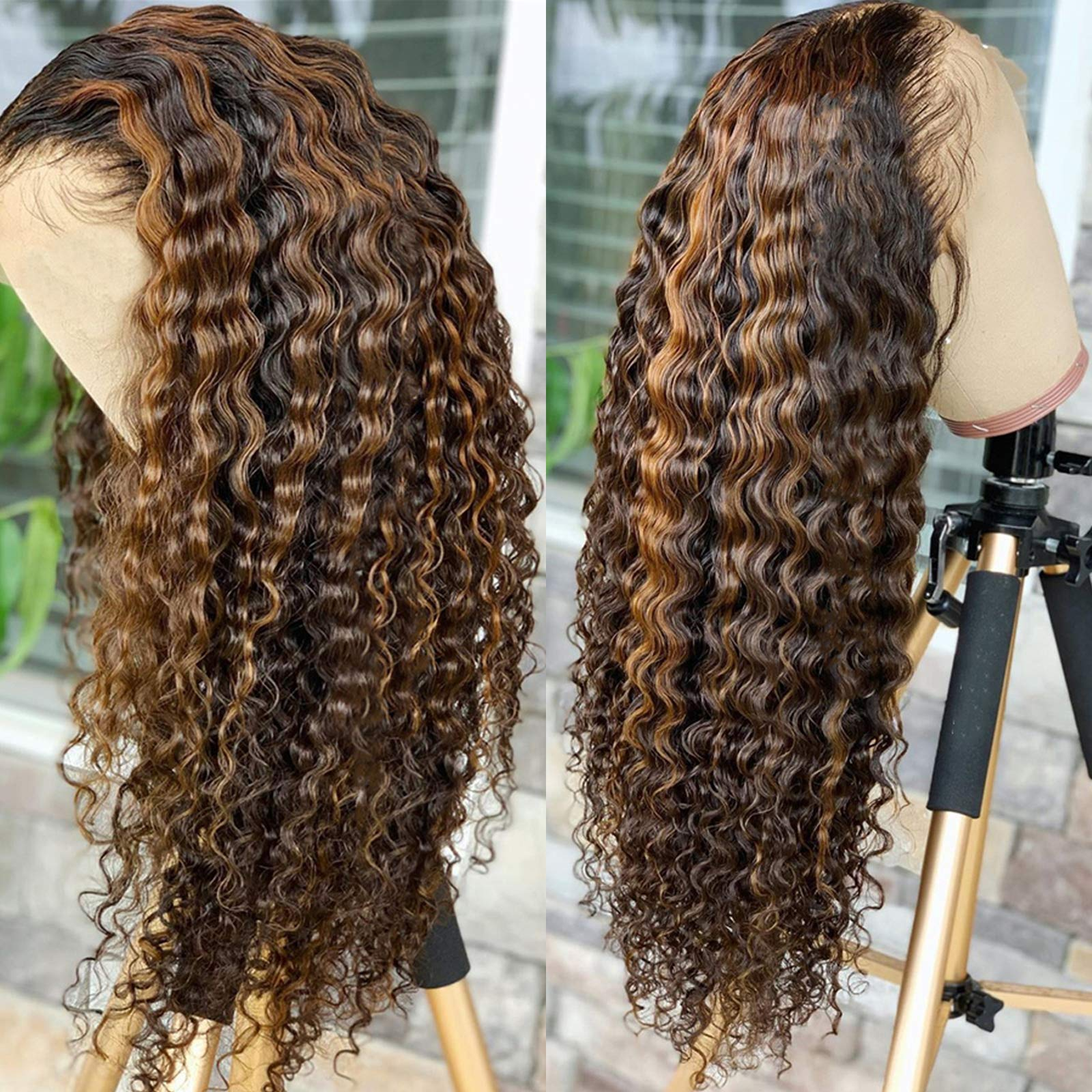 Imeya Ombre Highlight Wigs 13x6 HD Lace Front Wigs Human Hair Deep Curly Wigs Dark Brown To Blonde Brazilian Remy Hair Wigs Pre Plucked With Baby Hair 150 Density, 20 Inches
