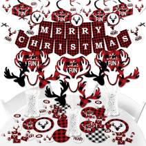 Big Dot of Happiness Prancing Plaid - Reindeer Holiday and Christmas Party Supplies - Banner Decoration Kit - Fundle Bundle