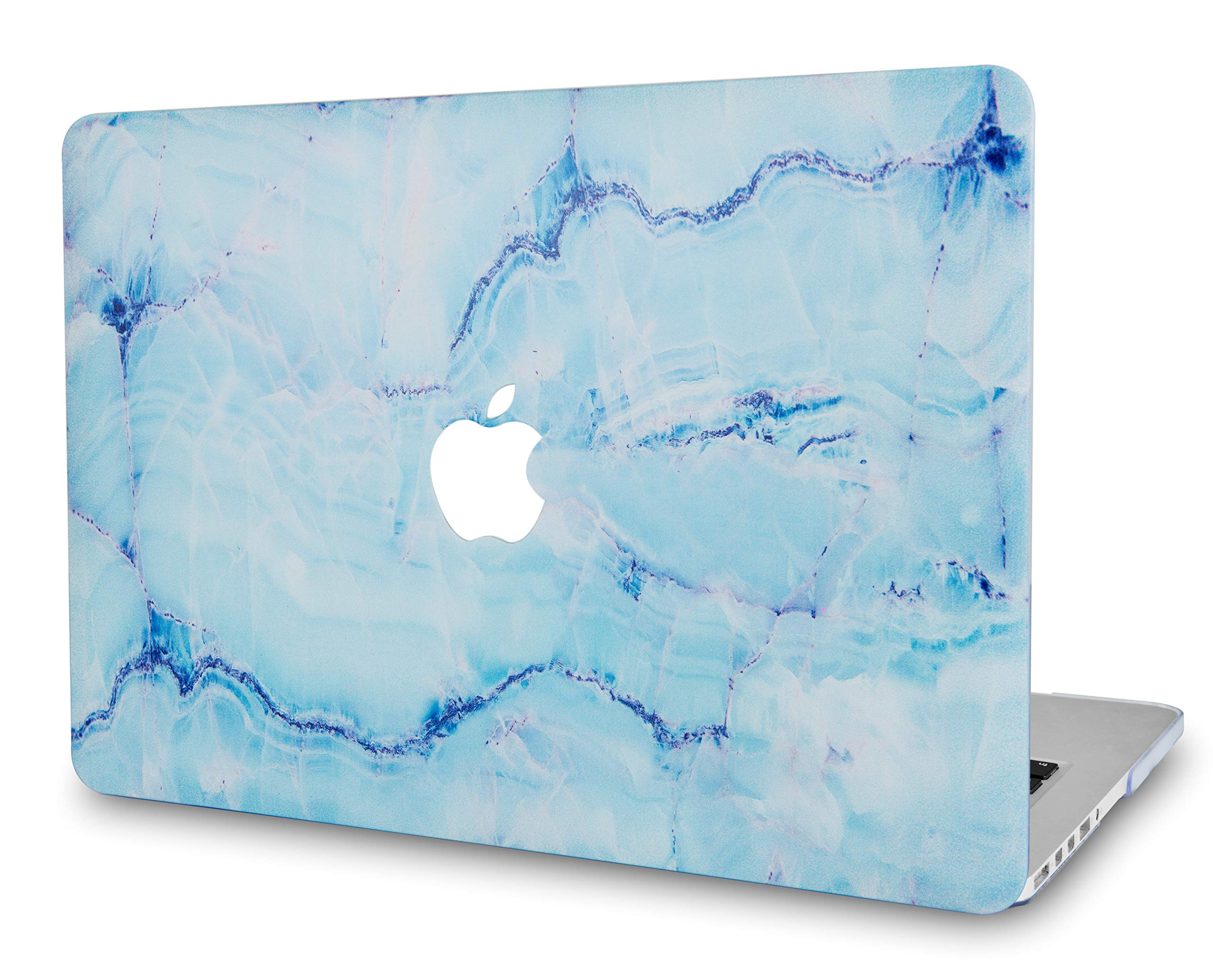 LuvCaseLaptopCaseforMacBookAir 13 Inch A1466 / A1369 (No Touch ID)RubberizedPlasticHardShellCover (Blue Marble with Blue Veins)