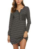 Ekouaer Women's Nightshirt Long Sleeve Button Down Nightgown V-Neck Sleepwear Pajama Dress