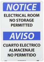 """NMC ESN368RB Bilingual OSHA Sign, Legend """"NOTICE - ELECTRICAL ROOM NO STORAGE PERMITTED"""", 14"""" Length x 10"""" Height, Rigid Plastic, Black/Blue on White"""