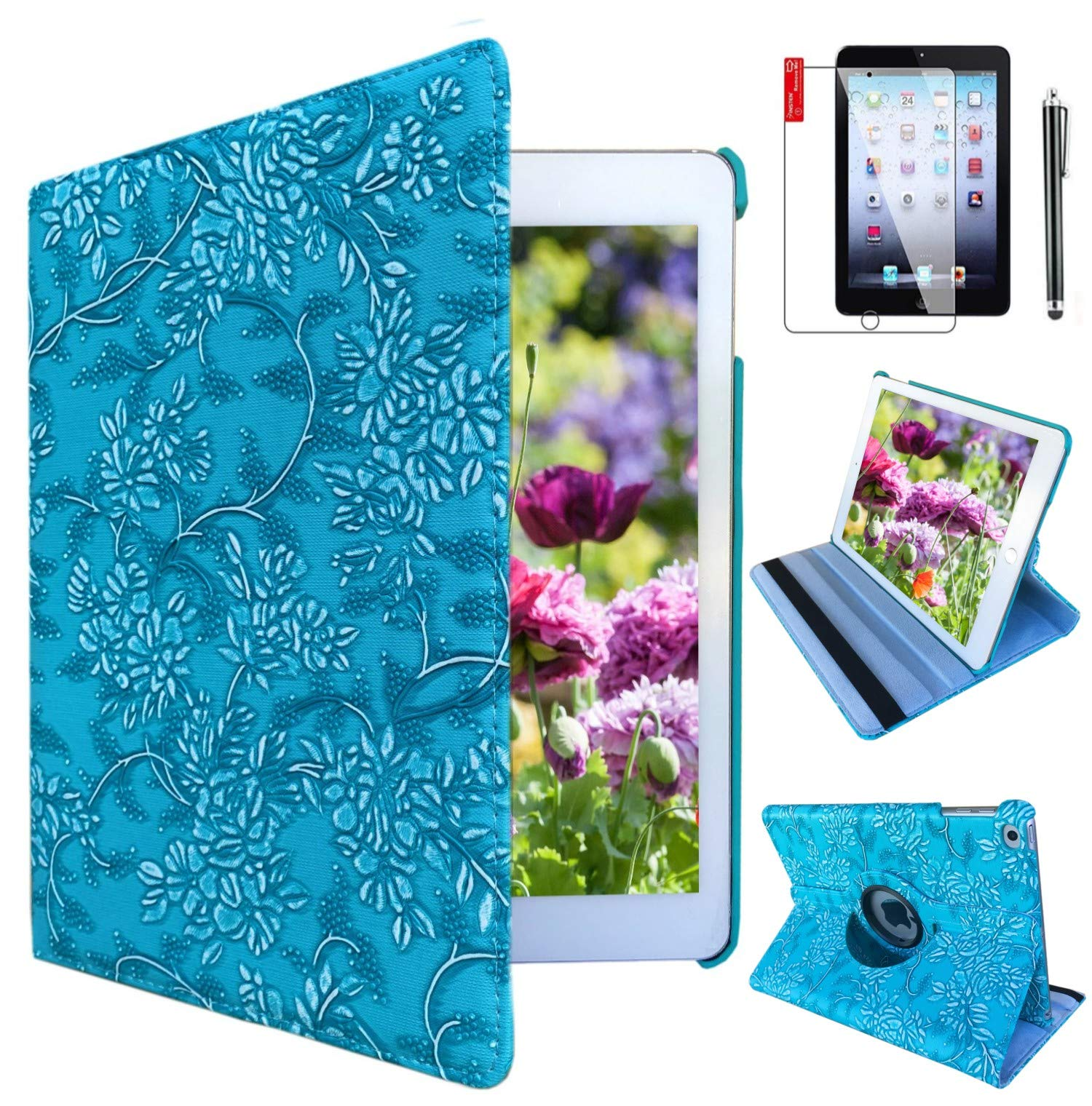 iPad Air 1st Generation case Compatible Models A1474 A1475A1476 MD785LL/A MD876LL/A 360 Rotating Stand with Wake Up/Sleep Function (Blue Embossed Flowers)