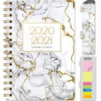 """HARDCOVER Academic Year 2020-2021 Planner: (June 2020 Through July 2021) 5.5""""x8"""" Daily Weekly Monthly Planner Yearly Agenda. Bonus Bookmark, Pocket Folder and Sticky Note Set (Grey & Gold Marble)"""