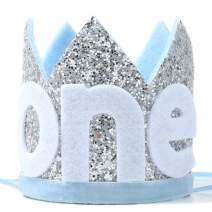Baby ONE Crown for 1st Birthday - First Birthday Party Headband,Boy or Girl Glitter Crown, Newborn Photography Prop, Prince or Princess Souvenir and Gifts(Silver Blue)