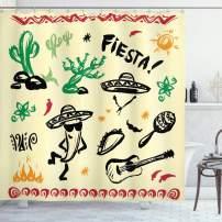"Ambesonne Mexican Shower Curtain, Popular Hispanic Cartoon Objects with Fiesta Taco Guitar Cactus Plant Nachos Print, Cloth Fabric Bathroom Decor Set with Hooks, 84"" Long Extra, Daffodil"