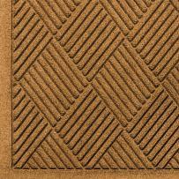 """M+A Matting 221 Waterhog Fashion Diamond Polypropylene Fiber Entrance Indoor Floor Mat, SBR Rubber Backing, 12.2' Length x 3' Width, 1/4"""" Thick, Gold"""