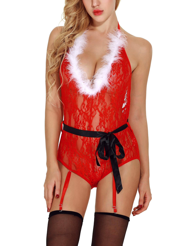 Bivan Women Christmas Lingerie Set Lace Babydoll Chemise Naughty Santa Outfits