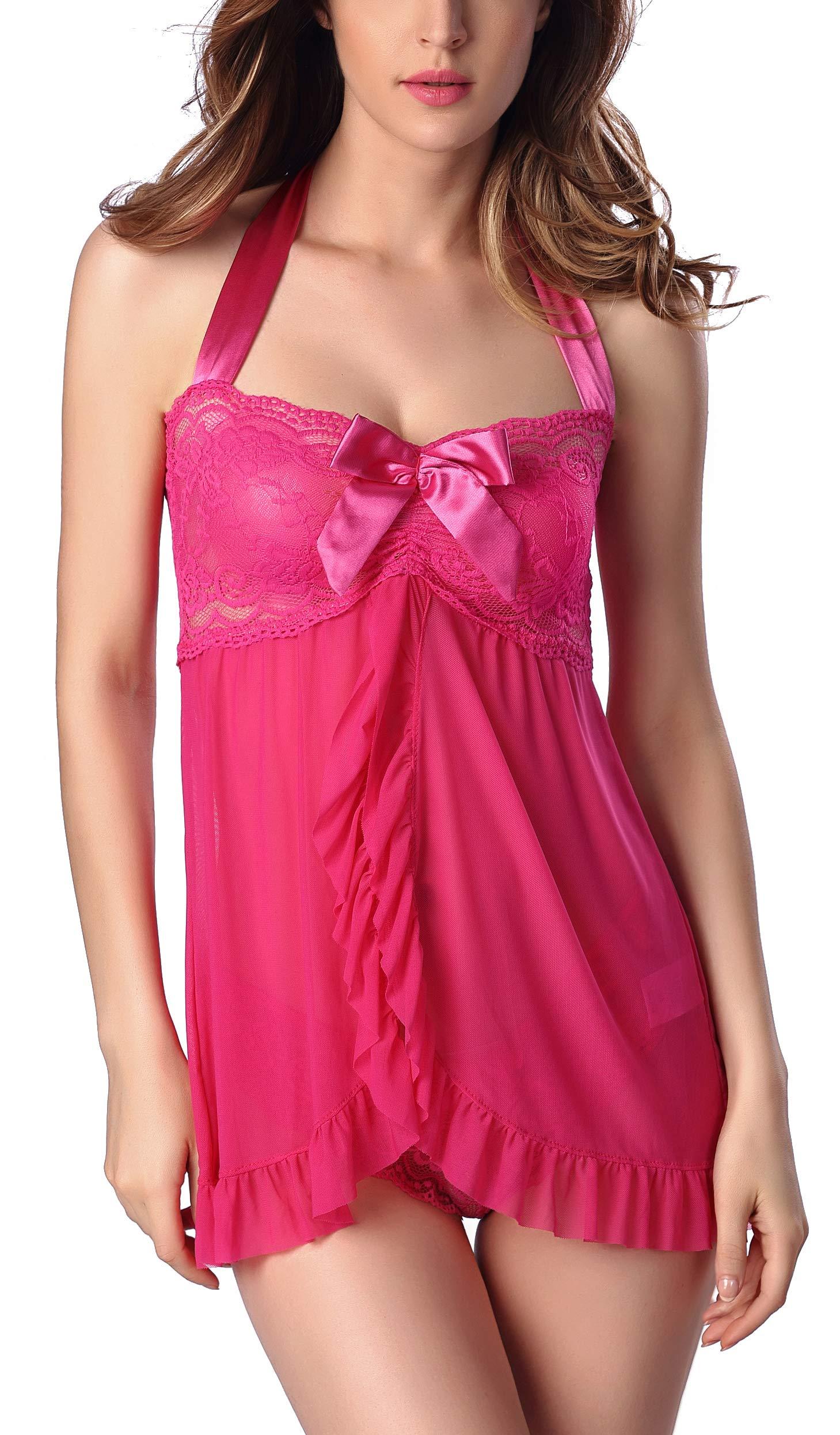 SHEKINI Women Lace Babydoll Halter Dress V-Neck Lingerie Sexy One Piece Bodysuit Sleepwear Nightgown Chemise