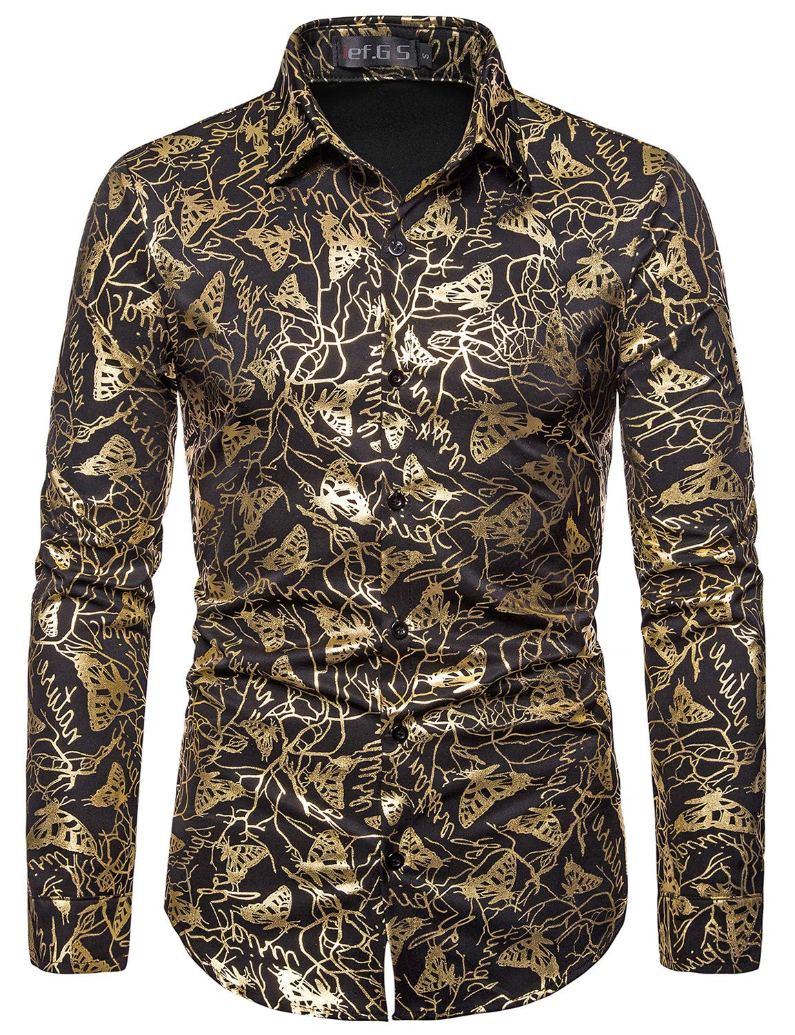 ief.G.S Men's Party Dress Shirts Gold Paisley Printed Luxury Design Long Sleeve Shiny for Disco