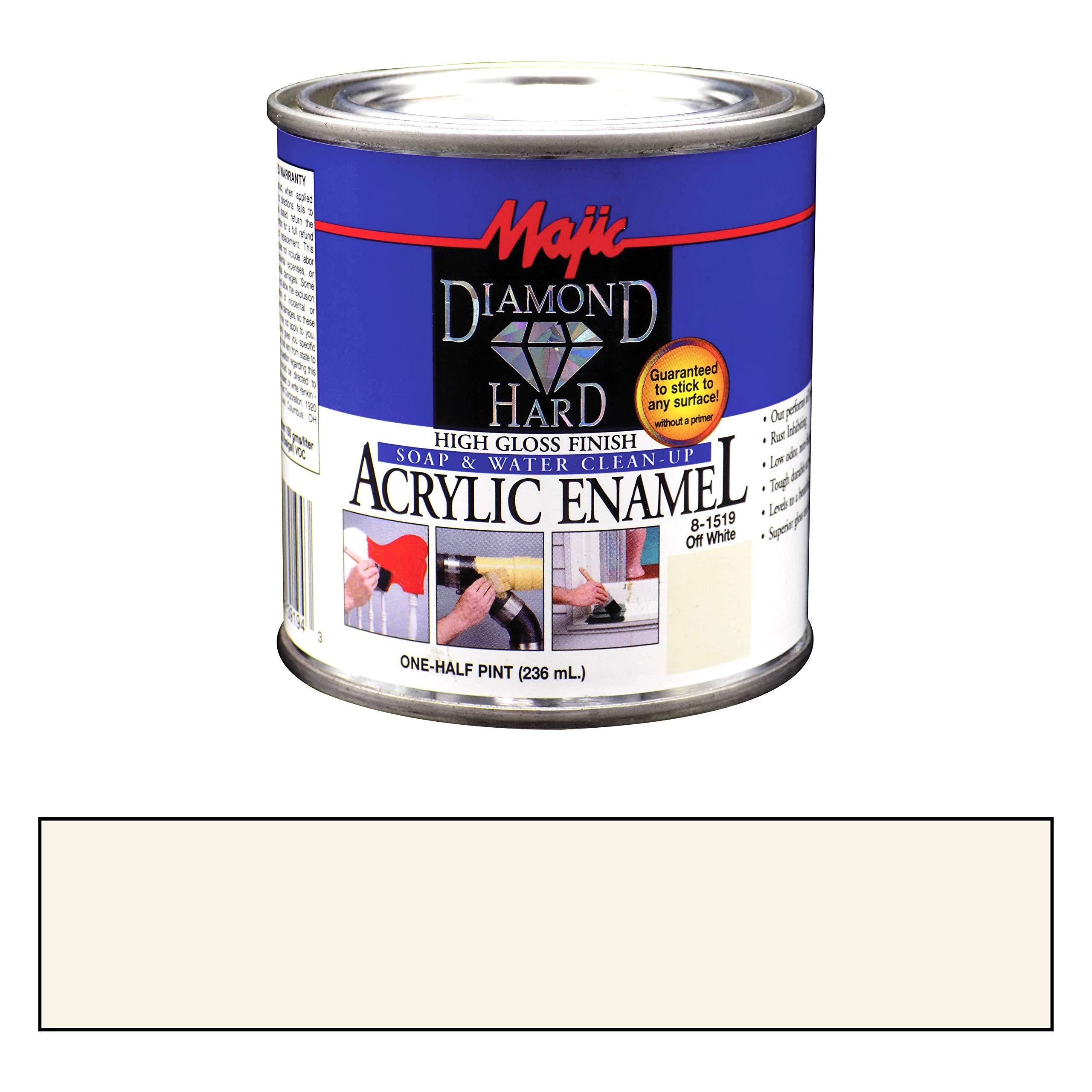 Majic Paints 8-1519-4 Diamond Hard Acrylic Enamel High Gloss Paint, Half Pint/8-Ounce, Off White