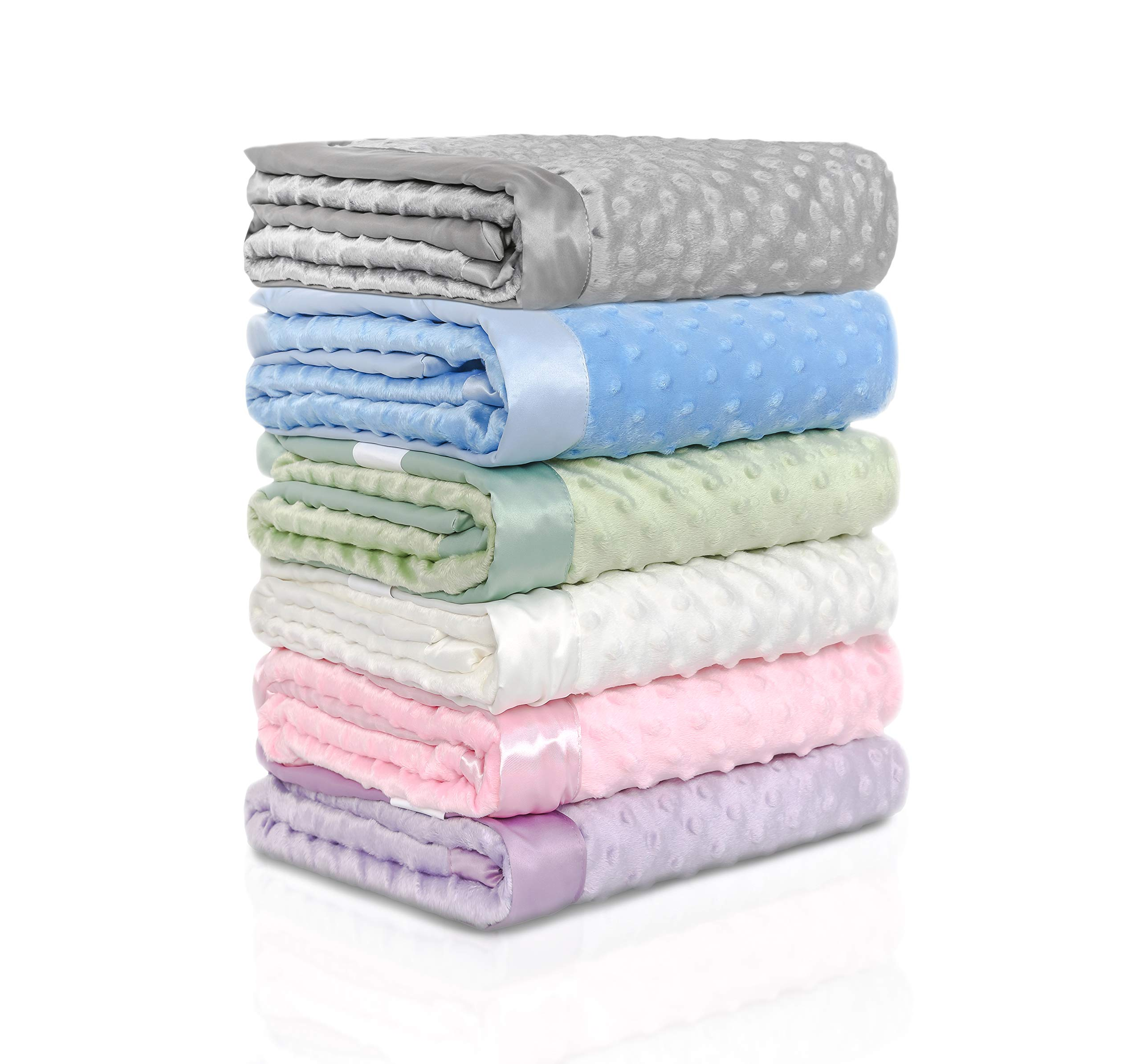 """KOYOU Baby Blue Super Soft Minky Plush Reversible Double Layer 30"""" x 35"""" Baby Blanket with Dotted Backing and Silky Trim"""