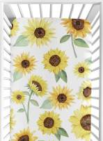 Sweet Jojo Designs Yellow, Green and White Sunflower Boho Floral Girl Baby or Toddler Nursery Fitted Crib Sheet - Farmhouse Watercolor Flower