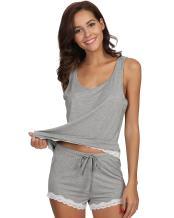 WiWi Women Bamboo Pajamas Soft Pajama Set Lace Trim Sleepwear Slips Tank Top with Shorts Pjs S-4X