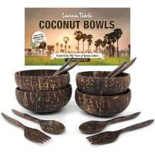 """LANNA Deluxe Natural Thai Polished Coconut Bowls 5.5"""" (Set of 4) with Hand Carved Palm Wood Spoon & Fork - Perfect Eco-Friendly Gifts for Vegan, Organic Veggie Salad, Acai Smoothies, Buddha Bowls"""