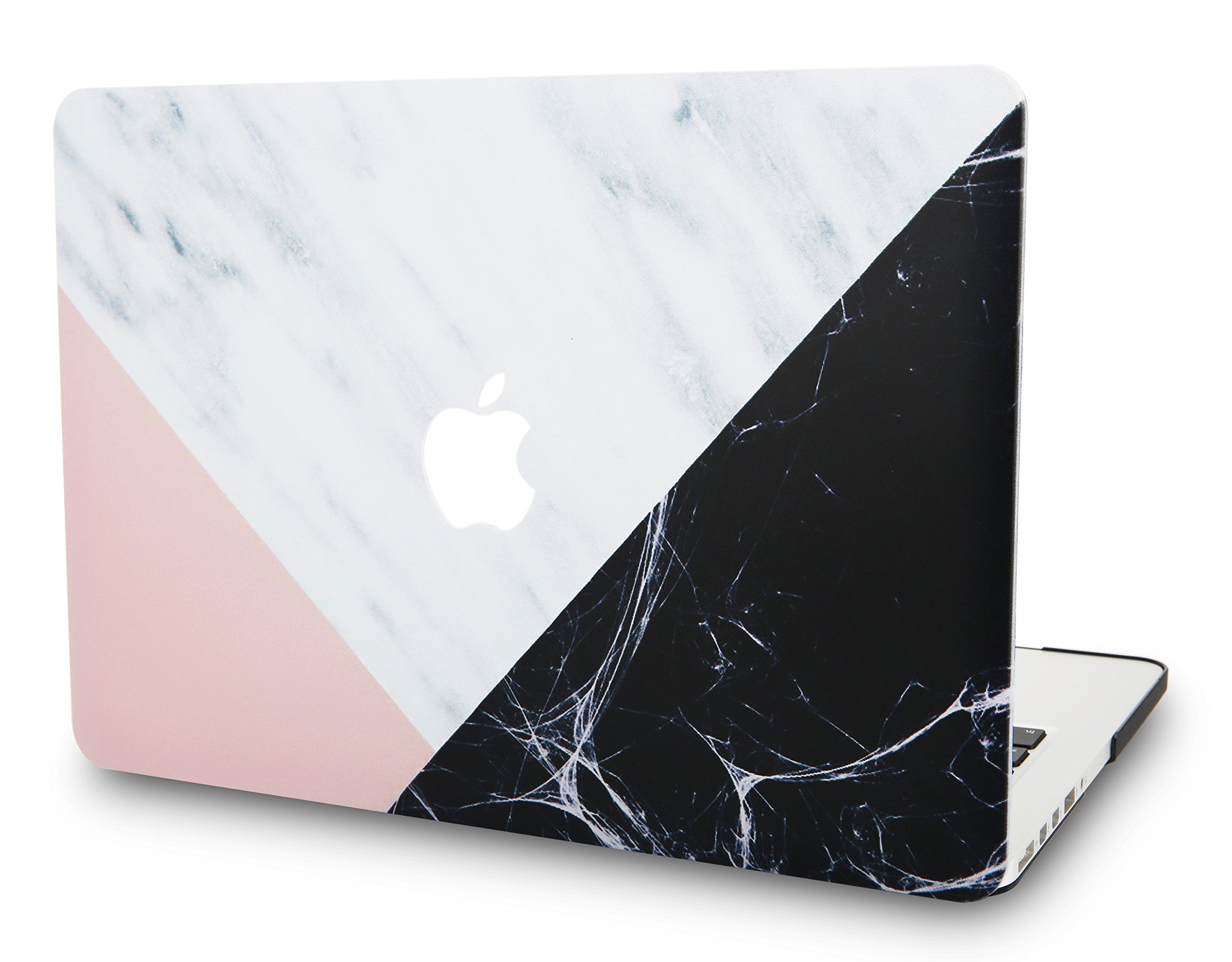 """KECC Laptop Case for MacBook 12"""" Plastic Case Hard Shell Cover A1534 (White Marble with Pink Black)"""