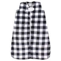 Hudson Baby Unisex Baby Long-Sleeve Plush Sleeping Bag, Sack, Blanket, Black Plaid, 6-12 Months
