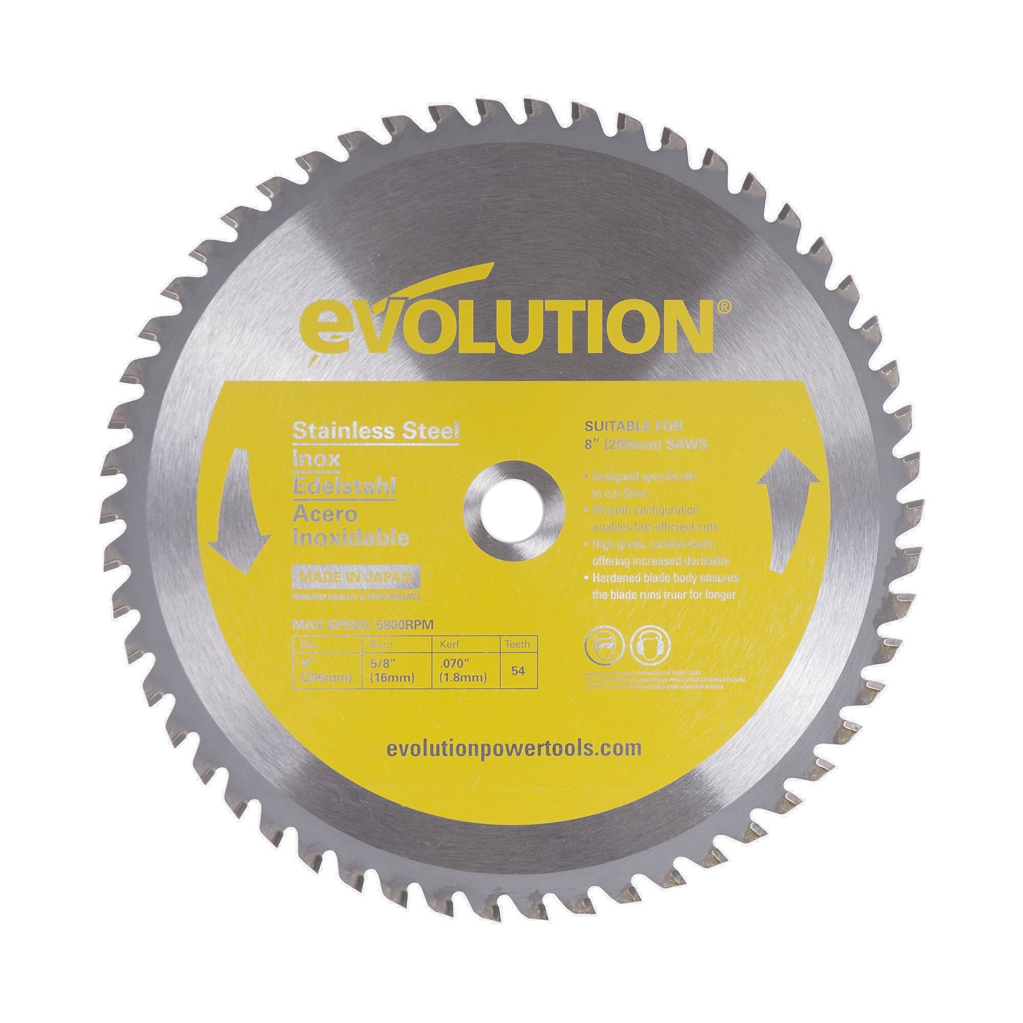 Evolution Power Tools 8BLADESS Stainless Steel Cutting Saw Blade, 8-Inch x 54-Tooth
