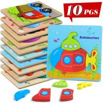 XPCARE 10 Pack Wooden Puzzles for Toddlers Early Educational Puzzles Toys Gift for Boy and Girls Animals and Transportation