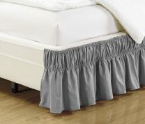 """Elastic Bed Skirt 14"""" Drop Easy On/Easy Off Dust Ruffled Solid New (Light Grey, Queen-King)"""