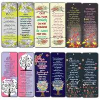 Memory Bible Verses Bookmarks Cards (60-Pack) - Floral Flowers Christian Living Encouragement Gifts for Women Mom Girls Stocking Stuffers