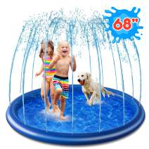 """Anti-Slip Splash Sprinkler Pad for Kids Toddlers, 68"""" Splash Play Mat, Outdoor Inflatable Water Play Sprinkler Pad for Boys Girls Summer Spray Water Toys, Wading Swimming Pool for Babies and Toddlers"""