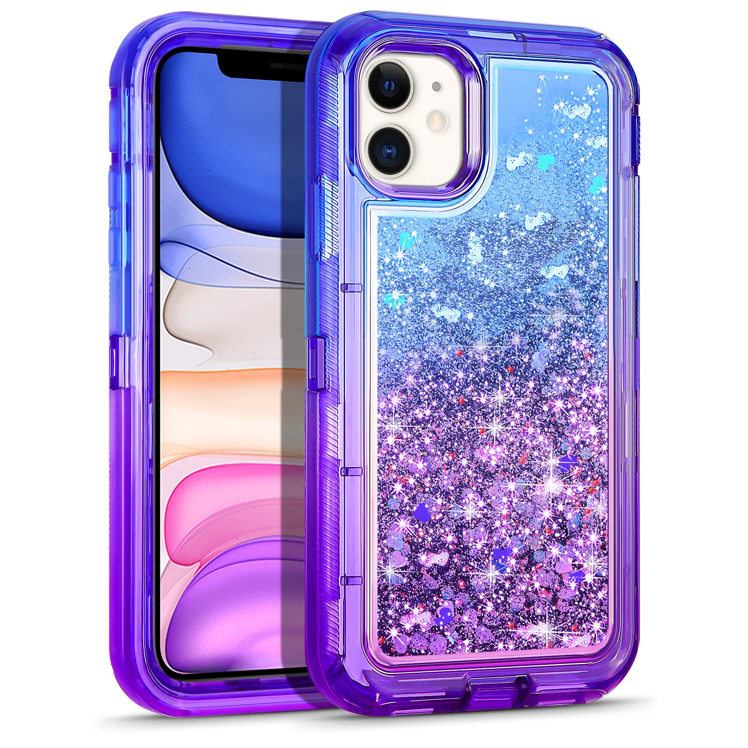 WESADN Case for iPhone 11 Case for Women Girls Glitter Cute Protective Shockproof Heavy Duty Clear Case with Sparkle Bling Quicksand Hard Bumper Soft TPU Cover for iPhone 11,6.1 Inches,Blue Purple