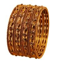Touchstone New Indian Bollywood Exclusive Embossing Finely Crafted Traditional Designer Jewelry Bracelets Bangles Set of 12 in Antique Gold Tone for Women.