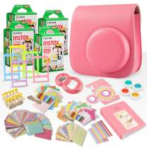 FUJIFILM INSTAX Mini Instant Film (X4) (80 Exposures) + FUJIFILM INSTAX Flamingo Pink 168 Piece Accessory Bundle W/Camera Case, Selfie Lens, Photo Album, Decorative Stickers, Frames & More