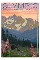 Lantern Press Olympic National Park, Washington - Bear and Cubs with Flowers 11266 (6x9 Aluminum Wall Sign, Wall Decor Ready to Hang)