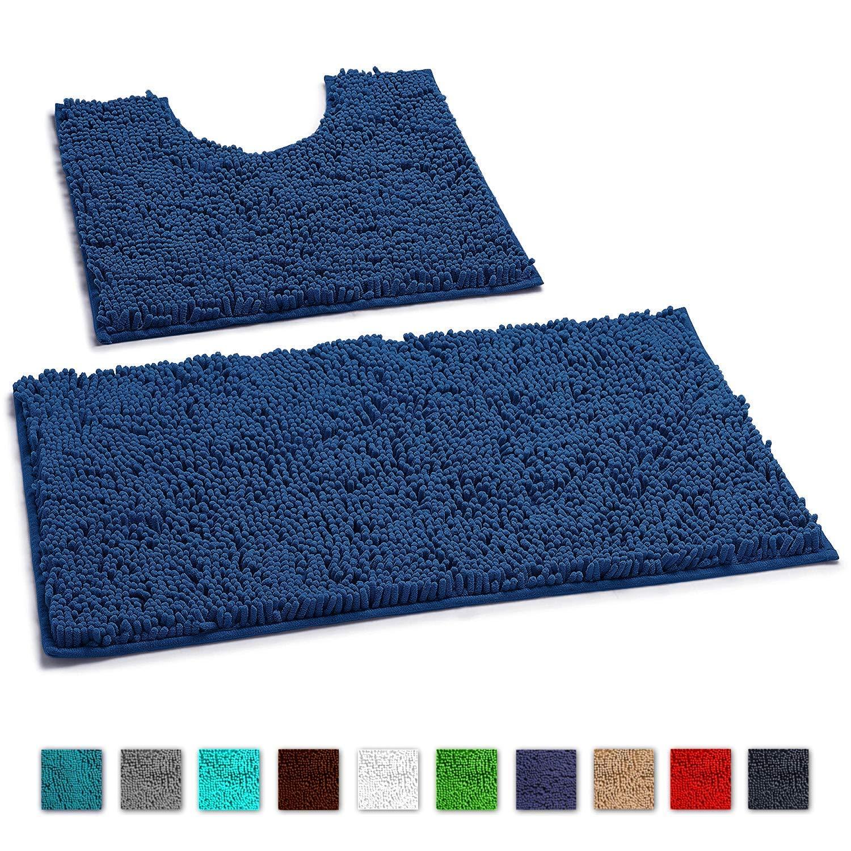 LuxUrux Bathroom Rugs Luxury Chenille 2-Piece Bath Mat Set, Soft Plush Anti-Slip Bath Rug +Toilet Mat.1'' Microfiber Shaggy Carpet, Super Absorbent Machine Washable Bath Mats (Curved Set, Blue-Purple)