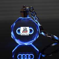 Parts Port Flashing Keychain with Car Logo, Laser Engrave Crystal Body w/Colorful LED Light (for Audi)