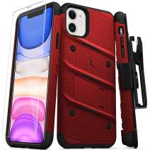 ZIZO Bolt Series iPhone 11 Case - Heavy-Duty Military-Grade Drop Protection w/Kickstand Included Belt Clip Holster Tempered Glass Lanyard - Red