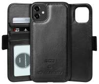 FLYEE iPhone 11 Wallet Case, Detachable 2in1 Premium case Fit Car Phone Mount Magnet [Dual Layered Leather] Protective Kickstand case Flip with Cards Slots and Cash Bag for iPhone 11 6.1 inch [Black]