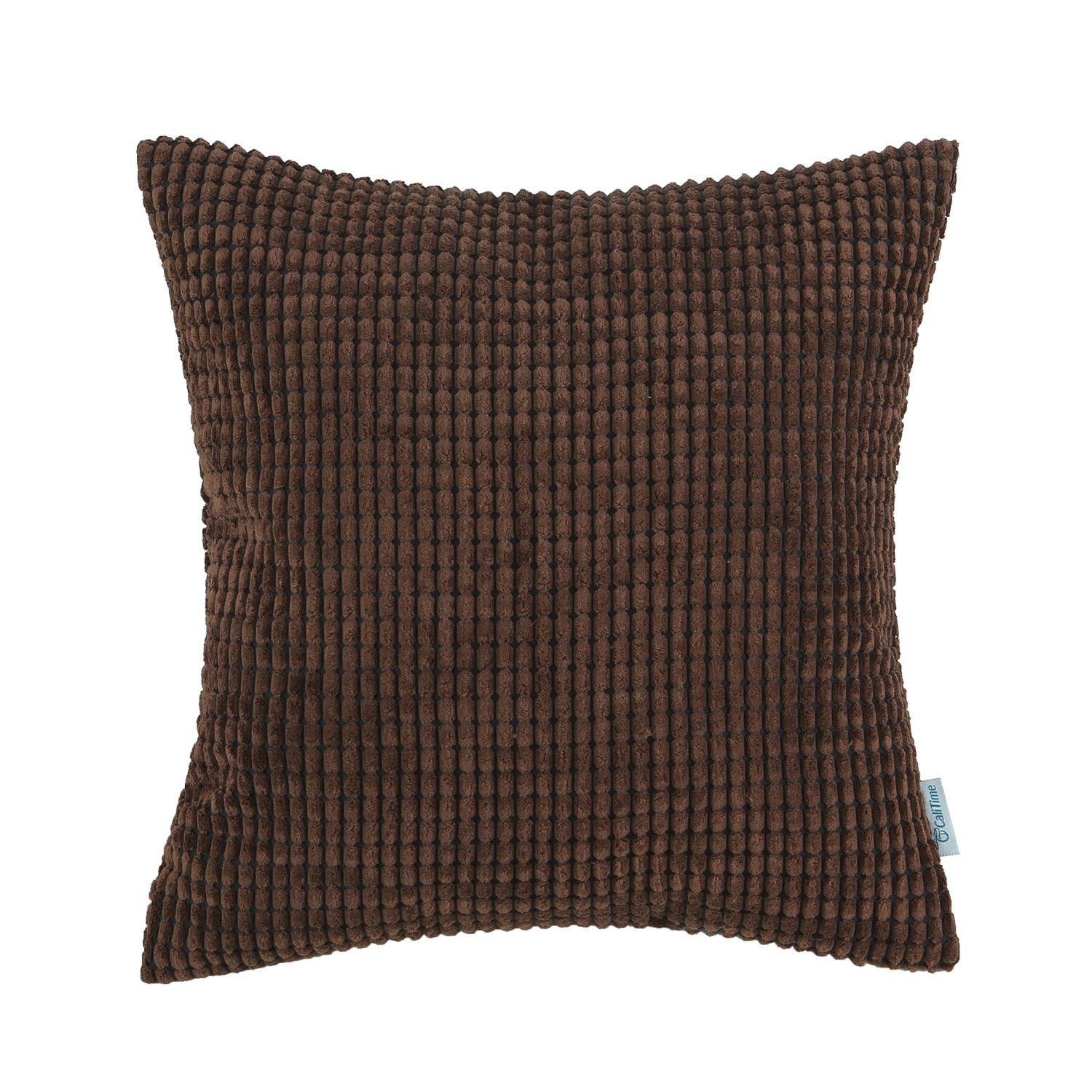 CaliTime Cozy Throw Pillow Cover Case for Couch Sofa Bed Comfortable Supersoft Corduroy Corn Striped Both Sides 24 X 24 Inches Coffee